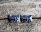 Black and Grey Owl Earrings