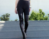 Faux Leather faux THIGH HIGH Paneled Leggings Black - Made To Order
