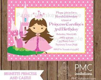 Custom Printed Brunette Princess Birthday Invitations - 1.00 each with envelope