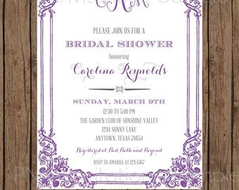 Custom Printed Monogram Bridal Shower Invitations - 1.00 each with envelope