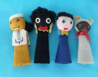 Vintage Felt Finger Puppet Collection Cat, Asian, African, Caucasian So Cute!