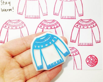 knitted sweater stamp. knitting hand carved rubber stamp. craft stamp for knitters crafters. christmas holiday scrapbooking. stayle no3