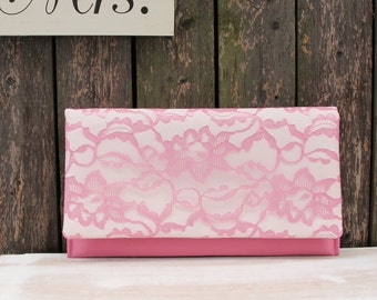 The LENA Clutch - Dusty Rose Lace Clutch, Rose Pink and Ivory Clutch, Lace Wedding Clutch, Pink Lace Clutch, Pink Bridesmaid Clutch