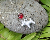 Snowy -Tiny Scotty Dog necklace - platinum plated puppy charm, red glass heart - sterling silver chain- Toto- free shipping USA