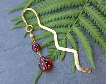 Ladybug Bookmark - deep red & gold glass lady bugs on gold plated bookmark - great gift for book lovers -Free Shipping USA