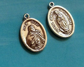 SALE - 1 Our Lady of Guadalupe / St. Juan Diego medallion, silver plated, 26mm