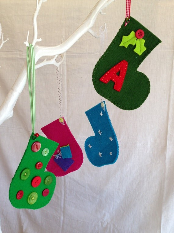 Christmas decorations wool felt stocking personalised for Felt stocking decorations