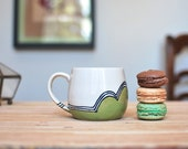 Wheel Thrown Coffee / Tea Mug in Green Hills