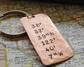 Latitude Longitude Keychain,Hand Stamped,GPS Location,Copper Gift,Coordinates Keychain,7th Anniversary Gift,Mens Wedding Gift,Husband Gift