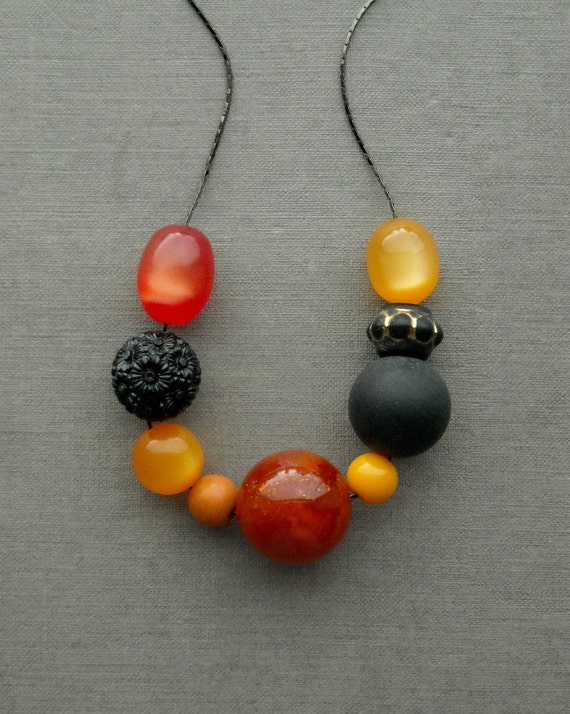 bitches brew - necklace, vintage lucite and gunmetal