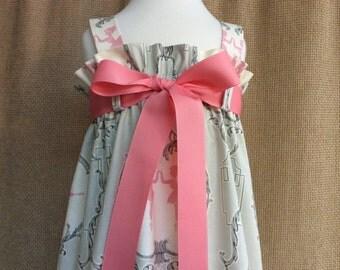 Ballerina Zadee Dress... Anna Griffin Arabesque Collection fabric....Ruffle Top Dress... Girls Jumper