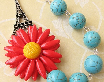 Statement Necklace Turquoise Jewelry Flower Necklace Eiffel Tower Jewelry Red Necklace Bib Necklace Gift for Her