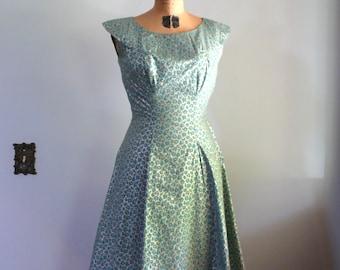vintage 1950s Dress  // Teal Roses Dress