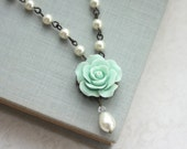 Mint Rose Flower Ivory Pearl Drop Necklace. Maid of Honor Gifts. Wedding Jewelry Bridesmaid Necklace. Country Wedding. Vintage Style