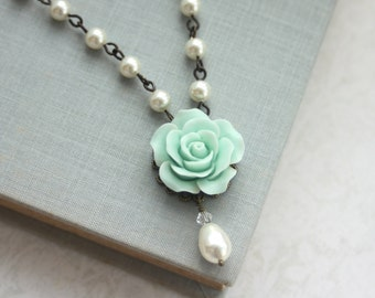Mint Rose Jewelry, Cream Rose Flower Ivory Color Pearl Drop Necklace Mint Green Wedding Jewelry Bridesmaid Gift Wedding Rustic Vintage Style