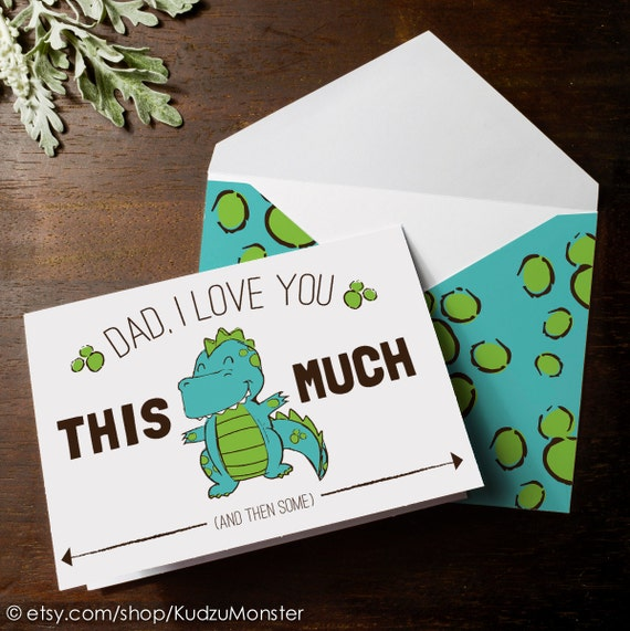 Instant download cute dinosaur father 39 s day card print at - I love you daddy download ...
