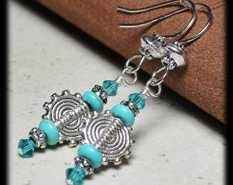 Little Suns...Handmade Beaded Jewelry Earrings Aqua Teal Turquoise Gemstone Crystal Silver Sun Southwest Dangle Dainty Lightweight