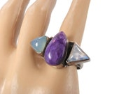 Moonstone Ring, Amethyst Ring, Chalcedony, Vintage Ring, Sterling Silver, Unique, Size 6.5, Statement Ring, Boho Bohemian, Purple Stone