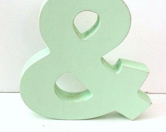 Wood Ampersand Sign - & - 5 Inch Shelf Sitter Style - Mint Green - Distressed - Typography - Wedding Decor - Coworker Gift - Corporate Gift