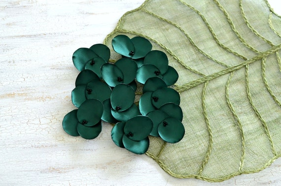 Hydrangea Blossoms-Handmade satin sew on flower appliques (10 pcs)-FOREST GREEN