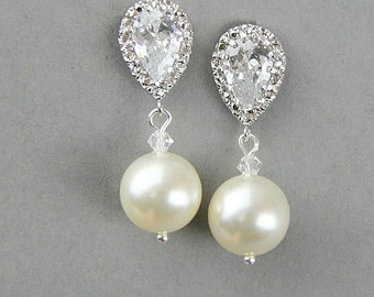 Pearl Earrings, Pearl Drop Earrings, Ivory Pearl Earrings, Bridal Jewellery