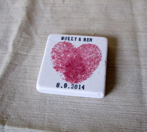Personalized Heart Thumbprint Wedding Favors - Tile Save the Date Magnets, Pink - Set of 25