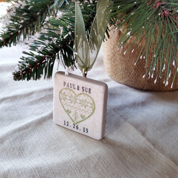 Personalized Christmas Heart Ornament Wedding By MyLittleChick