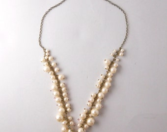 WEDDING NECKLACE FAUX pearls, dramatic cluster of beads and faux pearls, summer wedding, bridal necklace, formal affair