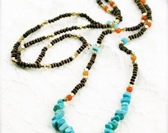 Boho long unisex necklace - turquoise and aventurine