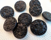Art Nouveau Antique Glass Buttons - 2 Vintage Black Glass 3/4 inch 19mm for Jewelry Beads Sewing Knitting