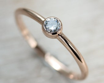 READY TO SHIP Delicate Moissanite Engagement Ring - Eco-friendly 3mm Moissanite with Thin Classic 14k Rose Gold Band - Ring Size 6