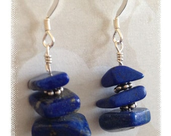 Love Blue?  Natural Lapis and Sterling Silver Earrings -- Simple Yet Bold!