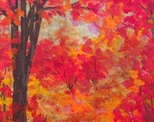 Original Autumn woodland acrylic painting N.Carolina Blue Ridge mountains SFA 4x5 canvas Fall Art
