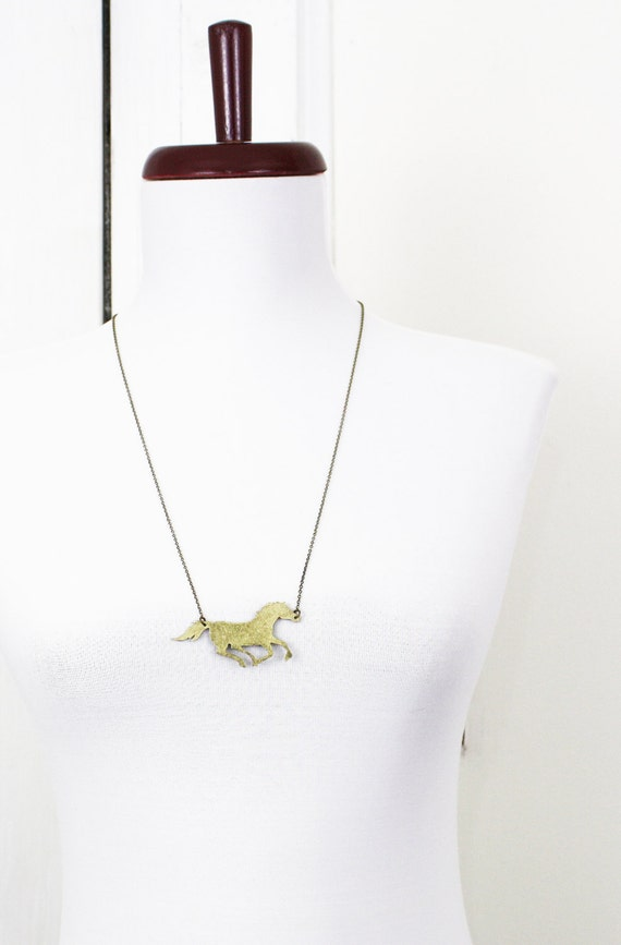 Horse Necklace Brass