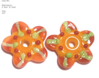 PAIRS 70 Lampwork Bead Pair Handmade Flowers Red Orange Lime Matched beads  - Set of 2