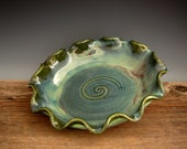 Pottery Pie Dish in Green Patina - Pie Baking Pan - Fall Bakeware - by DirtKicker Pottery