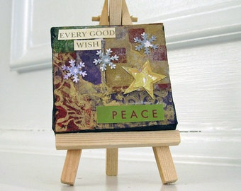 Holiday Art Mixed Media Original Collage Mini Canvas with Easel