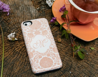 iPhone 6 Case Peach iPhone 5S Case, Monogram Damask Floral iPhone 5C Case, Orange, iPhone 6 Plus Case