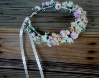 Bridal Crown Floral hair wreath by AmoreBride Goddess Headdress mint green pink champagne ivory vintage style wedding accessories halo