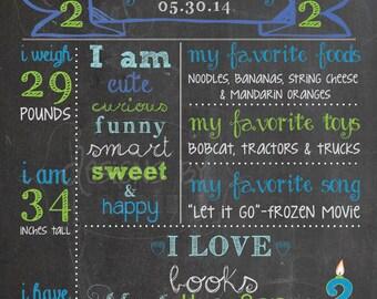2nd Birthday Chalkboard Birthday Poster Sign Boy, 2 year old Memory Milestones, blue, lime green, *personalized custom digital printable*