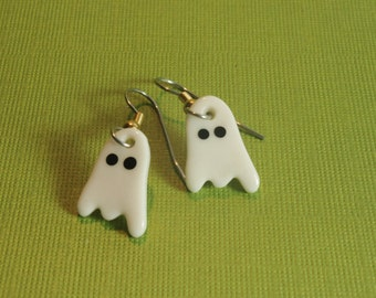 Mini Dangle Ghost Earrings Handmade Porcelain Ceramic Jewelry