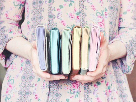 Leather Wrap Journal - Handbound Leather Blank Book - 6 x 4 - Custom - Pastel Colour Pages