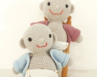 Crochet pattern baby with nappy and coat -  amigurumi doll pattern - Instant Download PDF by Bigunki