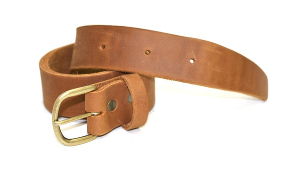 leather belt plain light brown distressed by divinadenuevo