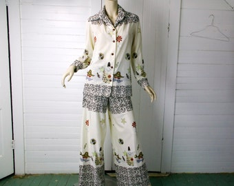 70s Disco Outfit- Bell Bottoms + Blouse in Sad Clown Print- Brown & White- Small / Medium- Wide Leg Pants- 1970s Hippie Boho Festival