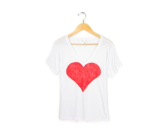 Red Heart Tee - Oversized V-Neck Drop Sleeve Boxy T-shirt in White & Red - Women's Size S M L XL 2XL
