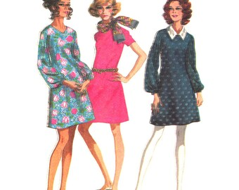1960s Dress Pattern McCalls 9670 Dart Fitted Dress Collar Womens Bust 34