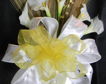 Wedding Broom/Jumping Broom with White Calla Lillies and Yellow, & White Accents