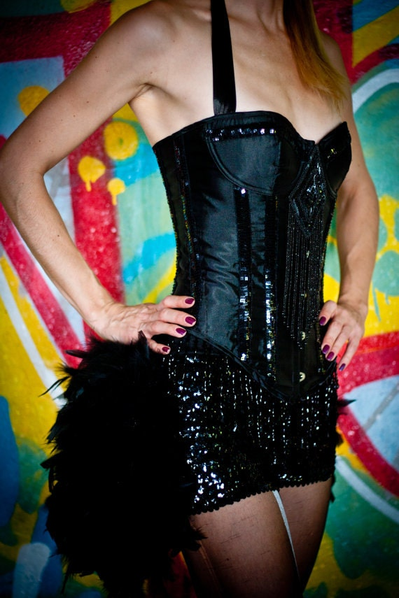 Feather Sequin dance shorts bloomers for Burlesque Showgirl Costume Black, Gold, Red