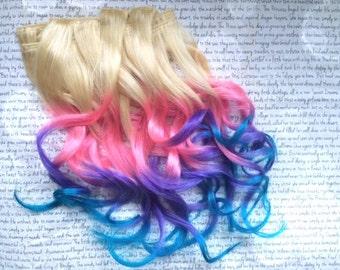 "the U N I C O R N … unicorn 100 percent human hair Full Set clip in extensions 18/20"" Blonde Pink Purple Blue pastel"